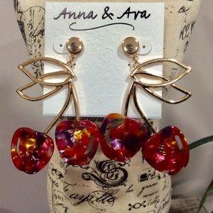 NWTS Anna & Ava Cherry Stem Earrings